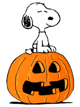 Snoopy sitting on a decorated pumpkin